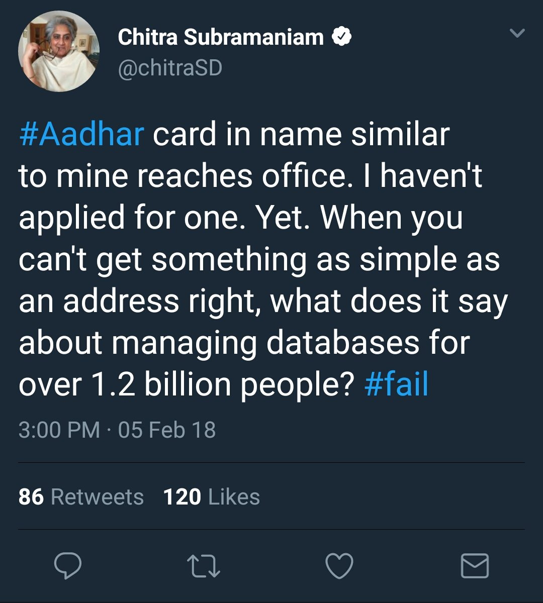 Journalist Chitra Subramanian says she received someone else's Aadhaar - it had similar name