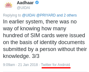 Aadhaar customer service complains to UIDAI are going to someone's smartphone